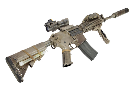M4 with suppressor - special forces rifle isolated on a white background 版權商用圖片