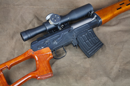 SVD sniper rifle on canvas background Stock Photo