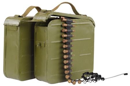 ammunition box with machine-gun belt Stock Photo