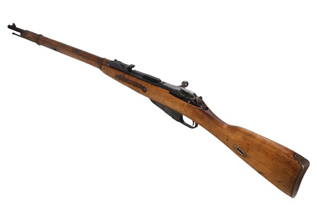 Russian ww1 period Mosin-Nagant rifle isolated on white Stock Photo