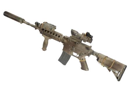 M4 with suppressor - special forces rifle isolated on a white background Foto de archivo