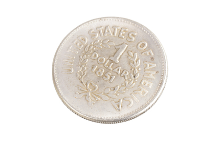 old vintage silver dollar isolated on background Stock Photo