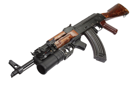 AK 47 with 40mm GP-25 grenade launcher Stock Photo