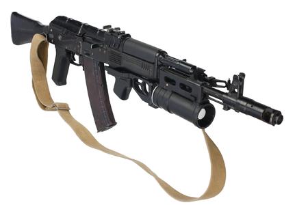 modern AK 74M assault rifle with underbarrel grenade launcher on white