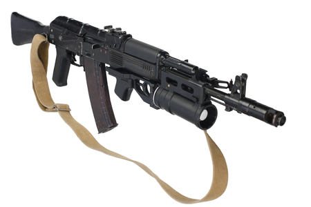modern AK 74M assault rifle with underbarrel grenade launcher on white Imagens - 97851614