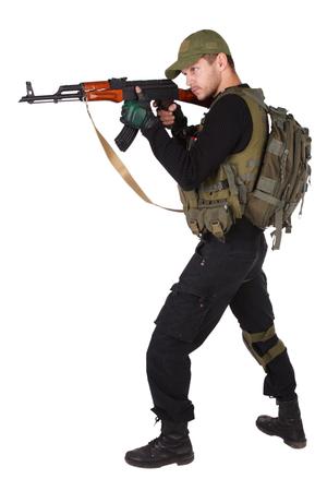 Private military contractor - mercenary with ak 47 gun