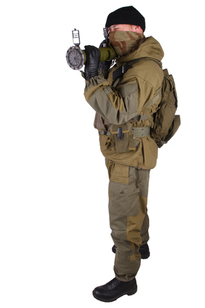 mercenary with bazooka gun isolated on white
