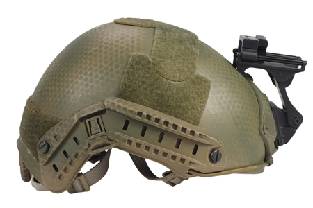 us army helmet with night vision mount isolated on whhite Stock Photo