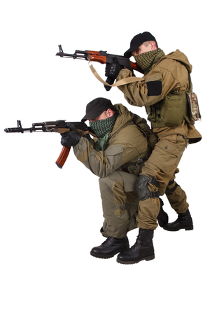 guerillas with AK 47 isolated on white background