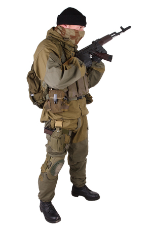 shooter with rifle isolated on white background