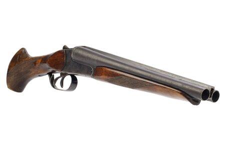 Lupara - a sawn-off shotgun isolated on white Фото со стока