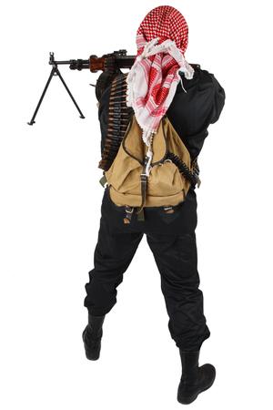 insurgent with machine gun isolated on white Stock Photo