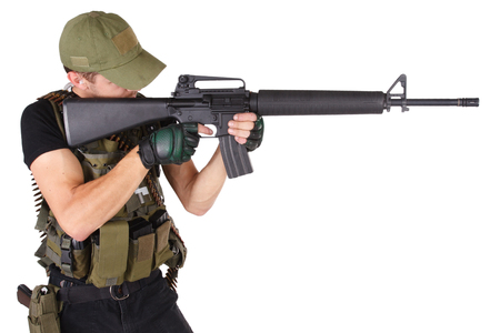 Private military contractor - mercenary with m16 rifle Stock Photo