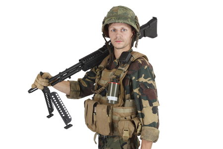 Private Military Company operator with machine gun on white background