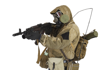 Stalker in gas mask with weapon isolated on white Stock Photo