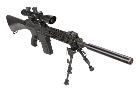 sniper rifle with bipod and silencer isolated on a white background