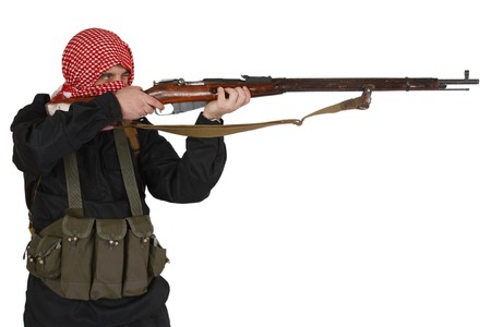 insurgent with rifle isolated on white