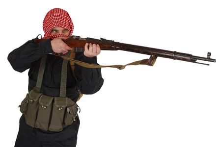 guerillas with rifle isolated on white