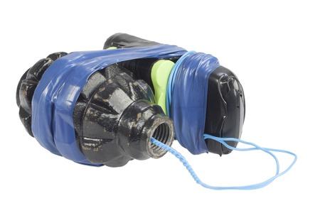 Terrorist weapon - Improvised Explosive Device isolated on white Stock Photo