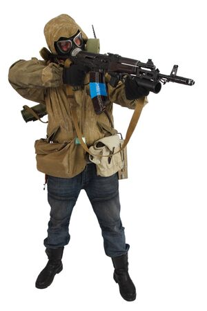 Stalker in gas mask with ak-47 gun isolated on white