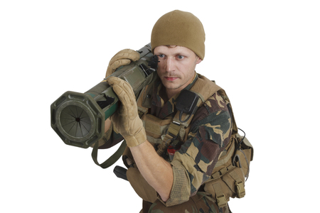 Private Military Company operator with rocket launcher isolated on white