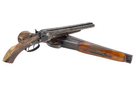 A pair of sawn-off shotguns isolated on white Stock fotó