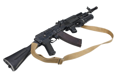modern AK 74M assault rifle with underbarrel grenade launcher on white