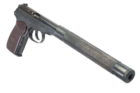 USSR Makarov pistol with silencer isolated 版權商用圖片 - 98044745