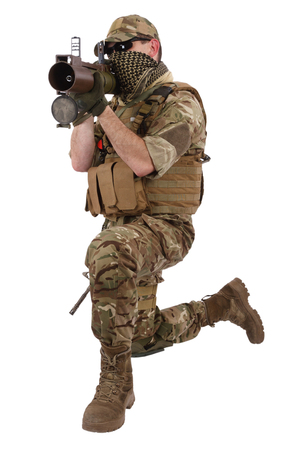 Private Military Company operator with RPG rocket launcher isolated on white Stock Photo