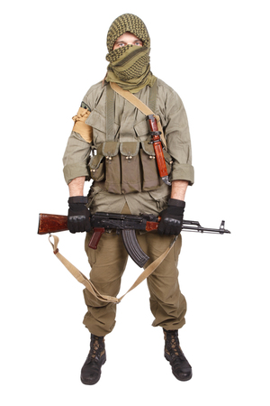 guerilla with AK 47 isolated on white Banque d'images