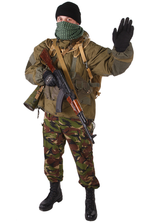 fighter with ak-47 rifle with rifle isolated on white background