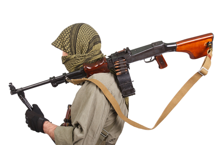 mercenary with machine gun Stock Photo
