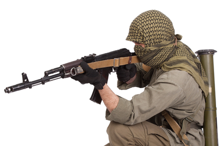 insurgent with AK 47 Stock Photo