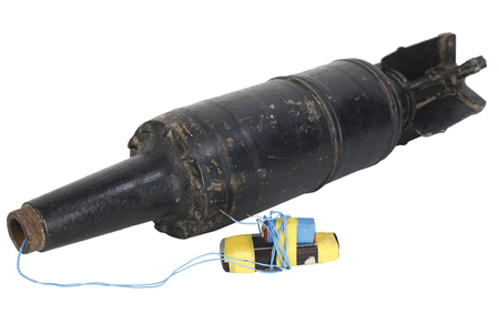 IED (improvised explosive device) with 125mm USSR Tank HEAT Projectile isolated