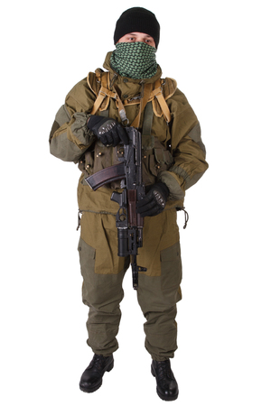 fighter with rifle with under-barrel grenade launcher isolated on white background