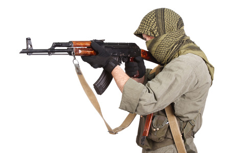 guerilla with AK 47 isolated on white Stock Photo