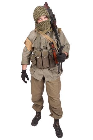 guerilla with machine gun isolated on white