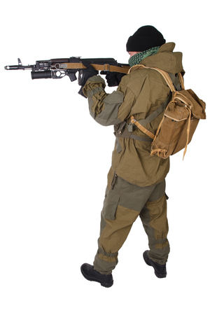 fighter with  ak-47 rifle with under-barrel grenade launcher isolated on white background Stock Photo