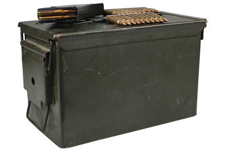 Ammo Can with ammo Stock Photo