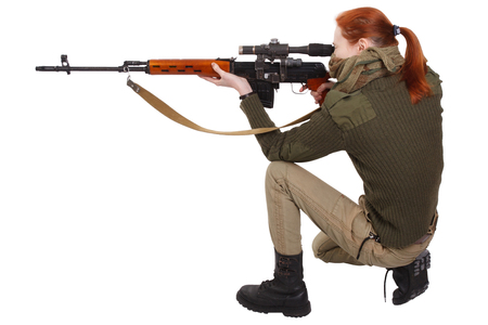 woman sniper with sniper rifle isolated on white background