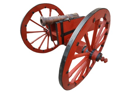 old vintage gunpowder cannon isolated on white background