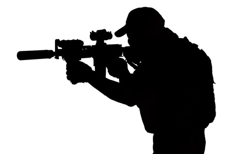 Private Military Contractor with carbine M4 black silhouette isolated