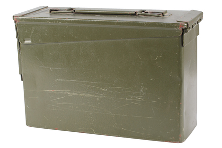 US Army Green Ammo Box isolated on white background Stock Photo