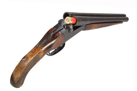 Crime weapon - sawn off shotgun isolated on white Stock fotó