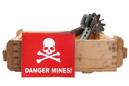 Demining (Bomb disposal) mortar bombs scene isolated