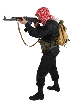 insurgent with AK 47 rifle isolated on white Stock Photo
