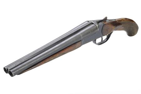 Crime weapon - sawn off shotgun isolated on white Фото со стока