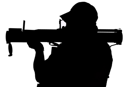 Private Military Company operator with RPG rocket launcher black silhouette isolated
