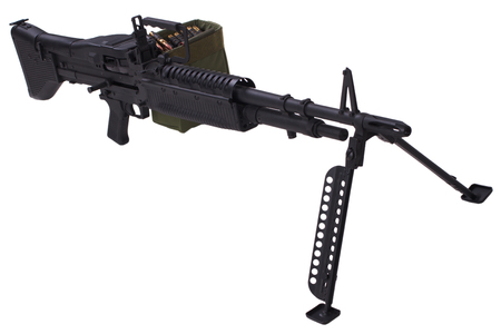 M60 machine gun with amminition tape isolated on white