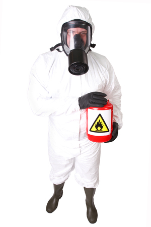 Man in a hazmat suit with red container dangerous material isolated on white